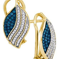 10K Yellow-gold 0.45CTW BLUE DIAMOND MICRO-PAVE EARRING