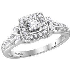 10kt White Gold Womens Round Natural Diamond Round Halo