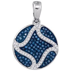 10KT White Gold 0.33CTW BLUE DIAMOND MICRO-PAVE PENDANT