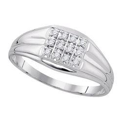 925 Sterling Silver White 0.12CT DIAMOND FASHION MENS R