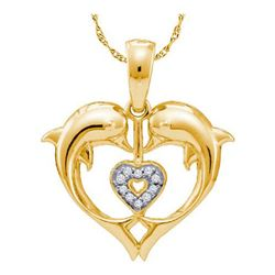10KT Yellow Gold 0.03CTW DIAMOND DOLPHIN PENDANT