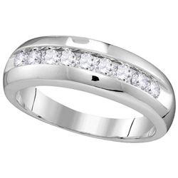 10kt White Gold Mens Round Diamond Single Row Wedding A