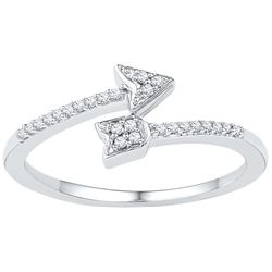 10kt White Gold Womens Round Natural Diamond Arrow Fash