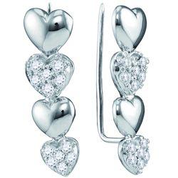 10kt White Gold Womens Round Diamond Heart Climber Earr
