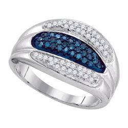 10KT White Gold 0.40CTW BLUE DIAMOND MICRO-PAVE RING
