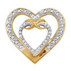10kt Yellow Gold Womens Round Diamond Nested Double Hea
