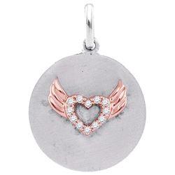Sterling Silver Womens Round Diamond Angel Wings Heart