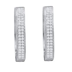 10KT White Gold 0.25CTW DIAMOND MICRO PAVE HOOPS