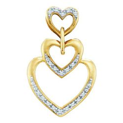 14K Yellow-gold 0.06CTW ROUND DIAMOND HEART PENDENT