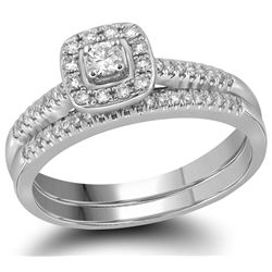 10kt White Gold Womens Princess Diamond Square Halo Bri