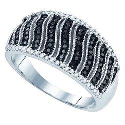 10K White-gold 0.40CTW BLACK DIAMOND MICRO-PAVE RING