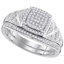10KT White Gold 0.33CTW DIAMOND MICRO-PAVE BRIDAL SET