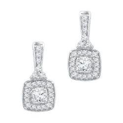 10KT White Gold 0.50CTW DIAMOND FASHION EARRINGS