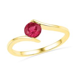 10kt Yellow Gold Womens Round Lab-Created Ruby Solitair