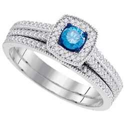10KT White Gold 0.50CTW DIAMOND BLUE BRIDAL SET