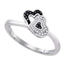 925 Sterling Silver White 0.08CTW DIAMOND HEART RING