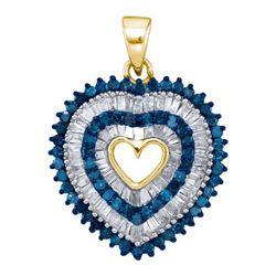 10K Yellow-gold 0.90CTW BLUE DIAMOND MICRO-PAVE PENDANT
