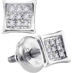 925 Sterling Silver White 0.05CTW DIAMOND MICRO PAVE EA