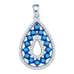 10KT White Gold 1.05CT BLUE DIAMOND FASHION PENDANT
