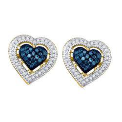 10KT Yellow Gold 0.40CTW BLUE DIAMOND HEART EARRINGS