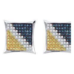 Sterling Silver Womens Yellow Blue Colored Diamond Squa