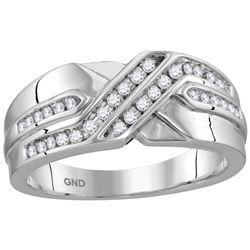 10kt White Gold Mens Round Natural Diamond Band Wedding