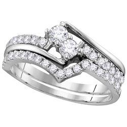10kt White Gold Womens Natural Diamond 2-stone Bridal W