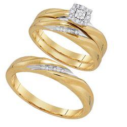 10K Yellow-gold 0.14CTW DIAMOND FASHION TRIO SET