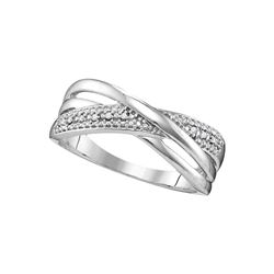 10kt White Gold Womens Round Diamond Crossover Band Rin