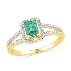 10kt Yellow Gold Womens Lab-Created Emerald Solitaire D