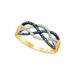 10kt Yellow Gold Womens Round Blue Colored Diamond Wove