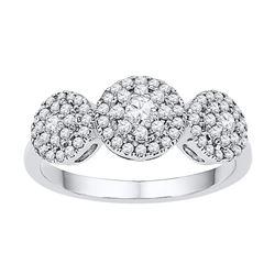 10kt White Gold Womens Round Diamond Triple Cluster Fas