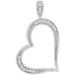 10KT White Gold 0.05CTW-Diamond HEART PENDANT