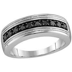 Sterling Silver Mens Round Black Colored Diamond Milgra