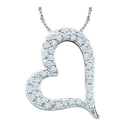 10K White-gold 0.34CTW ROUND DIAMOND LADIES HEART PENDA