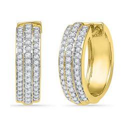 10K Yellow-gold 0.50CTW DIAMOND HOOPS EARRING