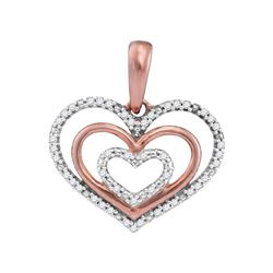 10kt Rose Gold Womens Round Diamond Triple Nested Heart