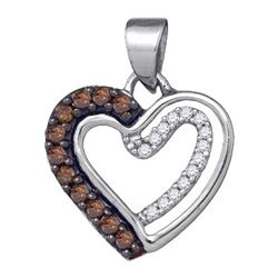 10KT White Gold 0.20CTW COGNAC DIAMOND HEART PENDANT `