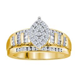 Yellow-tone Sterling Silver Womens Round Diamond Cluste