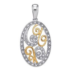 925 Sterling Silver White 0.12CTW DIAMOND FASHION PENDA