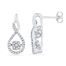Womens 10K White Gold Flower Cluster Real Diamond Infin