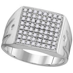 10kt White Gold Mens Round Diamond Polished Square Clus