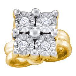 925 Sterling Silver Yellow 0.04CTW DIAMOND SILVER FANOO
