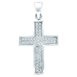 10kt White Gold Womens Round Diamond Cross Religious Pe