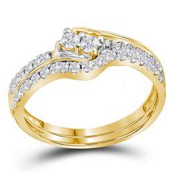 10kt Yellow Gold Womens Round Diamond 2-stone Bridal We