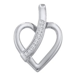 10KT White Gold 0.03CTW ROUND DIAMOND HEART PENDENT