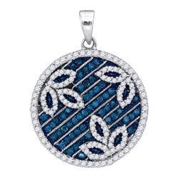 14K White-gold 0.75CTW BLUE DIAMOND MICRO-PAVE PENDANT