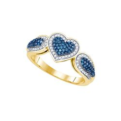 10kt Yellow Gold Womens Round Blue Colored Diamond Hear