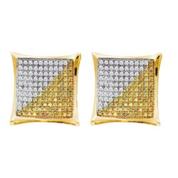 10KT Yellow Gold 0.15CTW DIAMOND MICRO PAVE EARRINGS