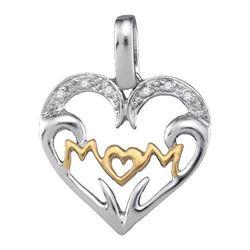 925 Sterling Silver White 0.03CTW DIAMOND MOM PENDANT